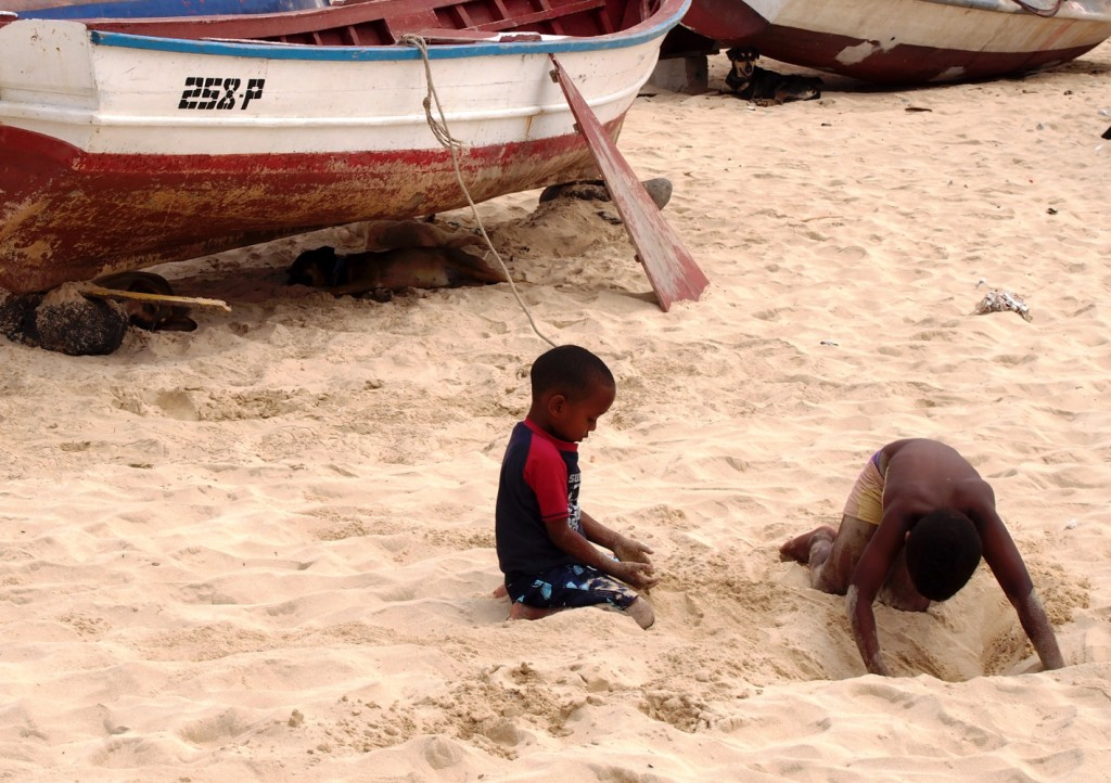 Cape Verde, Sal kids playing in sand