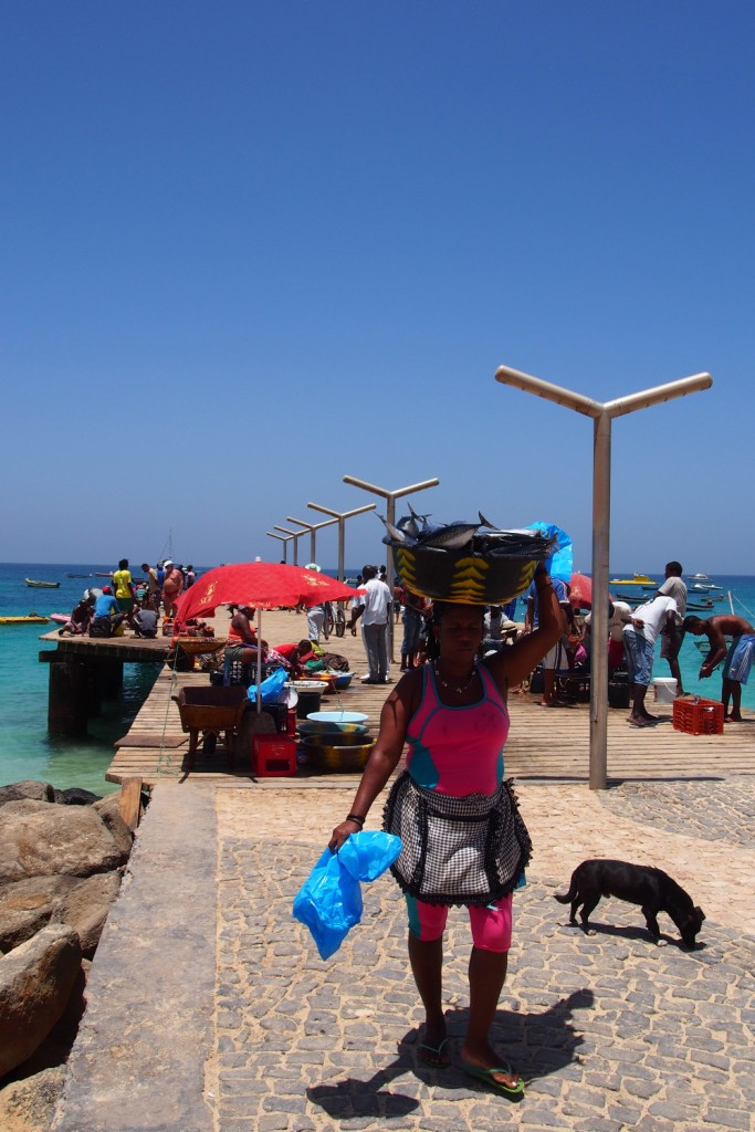 Cape Verde, Sal woment with fish at the pier
