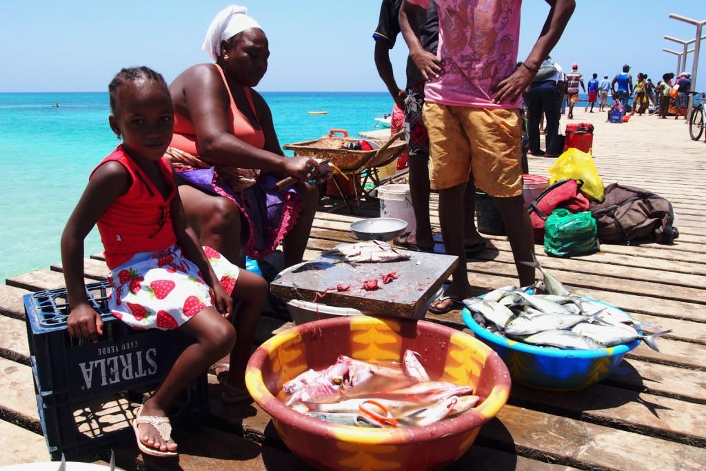 Cape Verde, Sal fish market at pier